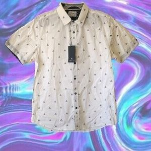 White Triangle Pattern Collared Shirt